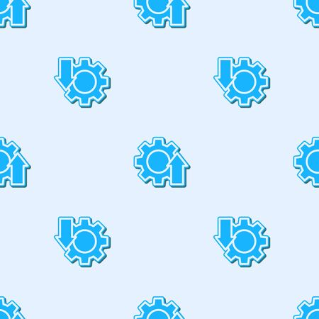 Blue line Arrow growth gear business icon isolated seamless pattern on grey background. Productivity icon. Vector Illustration. 向量圖像