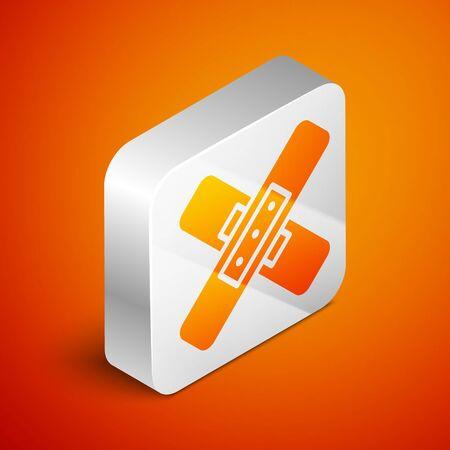 Isometric Crossed bandage plaster icon isolated on orange background. Medical plaster, adhesive bandage, flexible fabric bandage. Silver square button. Vector Illustration.