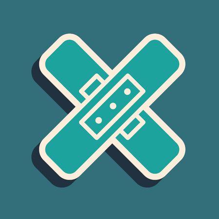 Green Crossed bandage plaster icon isolated on green background. Medical plaster, adhesive bandage, flexible fabric bandage. Long shadow style. Vector Illustration. Ilustração