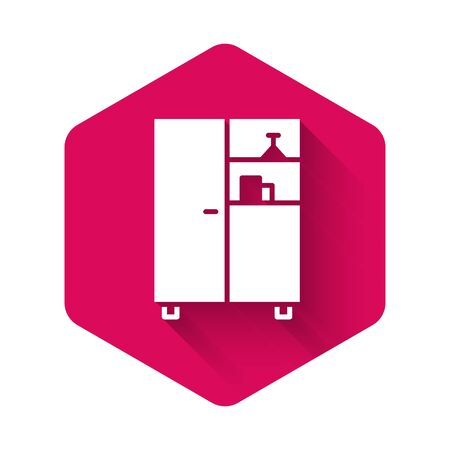 White Medicine cabinet icon isolated with long shadow. Pink hexagon button. Vector Illustration. Vectores