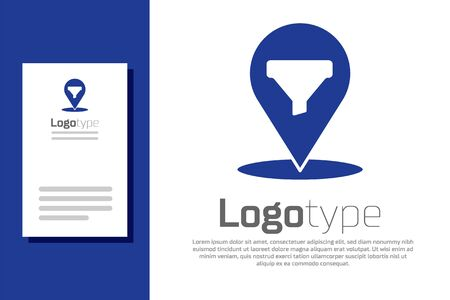 Blue Location with sales funnel icon isolated on white background. Infographic template.