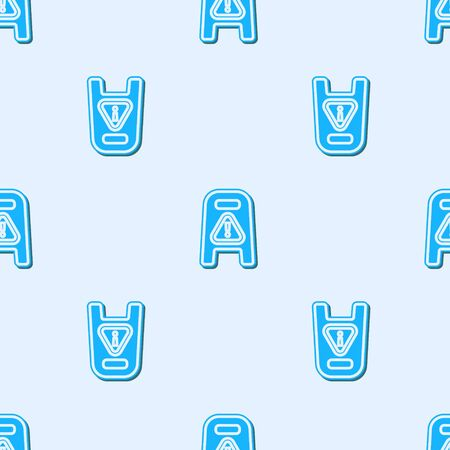 Blue line Wet floor and cleaning in progress icon isolated seamless pattern on grey background. Cleaning service concept. Vector Illustration.