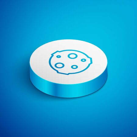 Isometric line Moon icon isolated on blue background. White circle button. Vector Illustration 向量圖像
