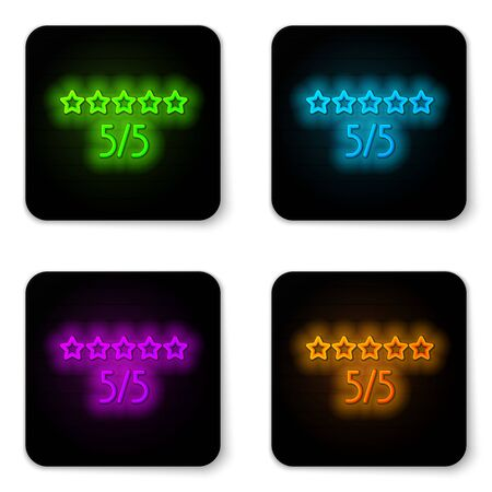 Glowing neon line Consumer or customer product rating icon isolated on white background. Black square button. Vector Illustration.