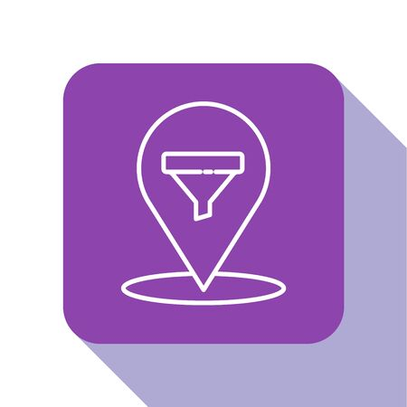 White line Location with sales funnel icon isolated on white background. Infographic template. Purple square button. Vector Illustration. 向量圖像