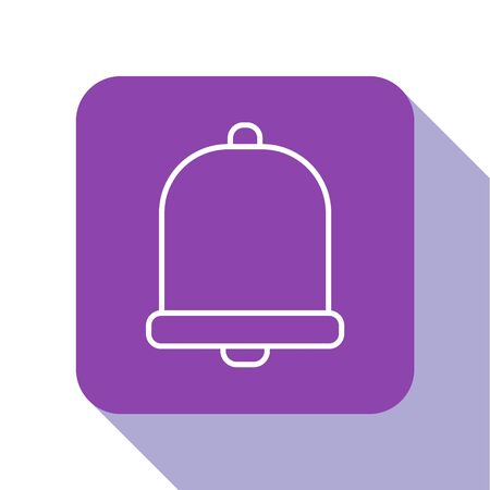 White line Church bell icon isolated on white background. Alarm symbol, service bell, handbell sign, notification symbol. Purple square button. Vector Illustration