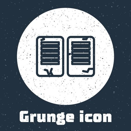 Grunge line The commandments icon isolated on grey background. Gods law concept. Monochrome vintage drawing. Vector Illustration