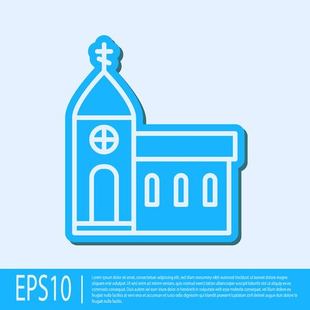 Blue line Church building icon isolated on grey background. Christian Church. Religion of church. Vector Illustration