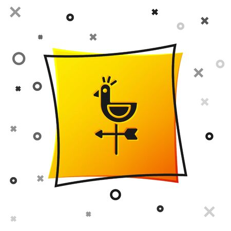 Black Rooster weather vane icon isolated on white background. Weathercock sign. Windvane rooster. Yellow square button. Vector Illustration. 向量圖像