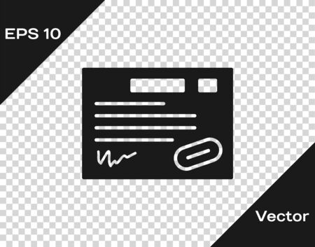 Black Warranty certificate template icon isolated on transparent background. Vector Illustration.