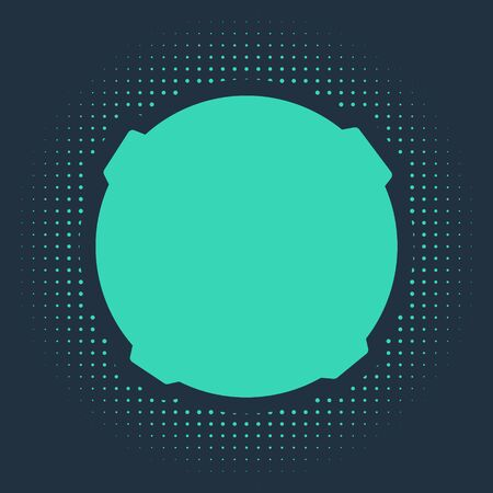 Green Moon icon isolated on blue background. Abstract circle random dots. Vector Illustration.