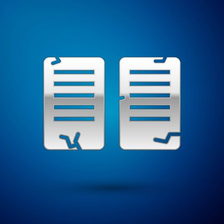 Silver The commandments icon isolated on blue background. Gods law concept. Vector Illustration. Vettoriali