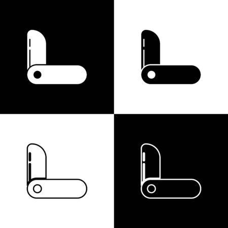Set Swiss army knife icon isolated on black and white background. Multi-tool, multipurpose penknife. Multifunctional tool. Vector Illustration. Vettoriali