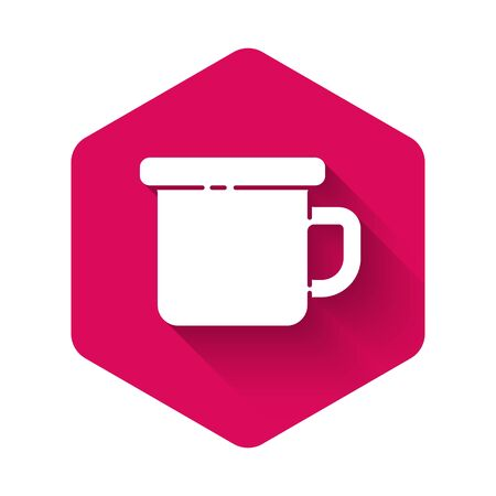 White Camping metal mug icon isolated with long shadow. Pink hexagon button. Vector Illustration.