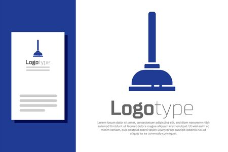 Blue Rubber plunger with wooden handle for pipe cleaning icon isolated on white background. Toilet plunger. Logo design template element. Vector Illustration