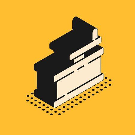 Isometric Manual grinder icon isolated on yellow background. Vector Illustration. Illustration
