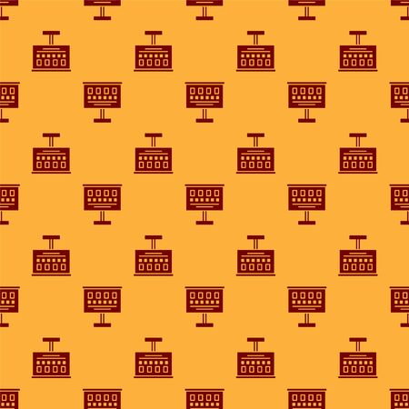 Red Eye test chart icon isolated seamless pattern on brown background. Poster for vision testing in ophthalmic study. Snellen chart. Vector Illustration.