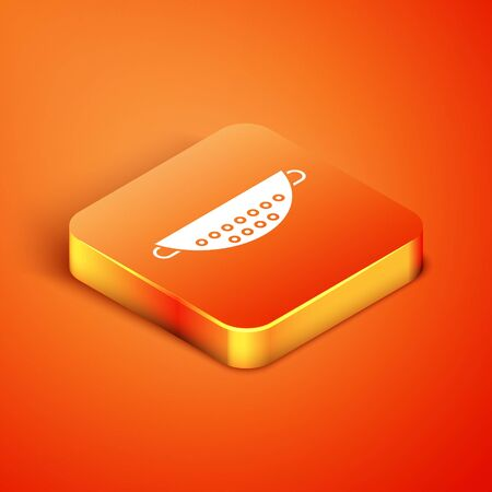 Isometric Kitchen colander icon isolated on orange background. Cooking utensil. Cutlery sign. Vector Illustration Vettoriali