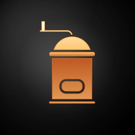 Gold Manual coffee grinder icon isolated on black background. Vector Illustration Illustration