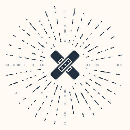 Grey Crossed bandage plaster icon isolated on beige background. Medical plaster, adhesive bandage, flexible fabric bandage. Abstract circle random dots. Vector Illustration Ilustração