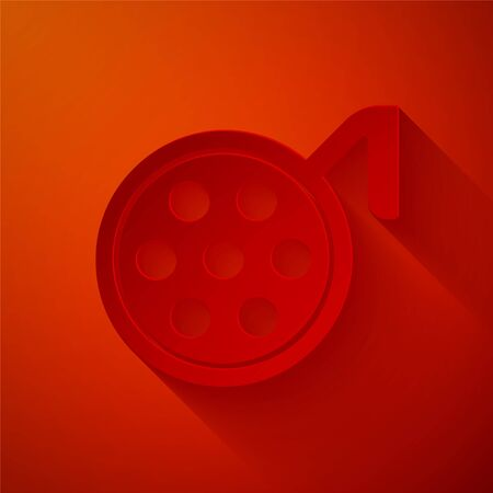 Paper cut Surgery lamp icon isolated on red background. Paper art style. Vector Illustration