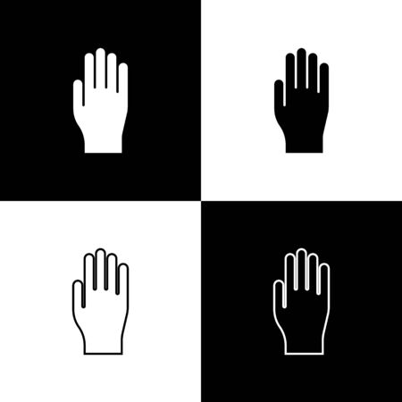 Set Medical rubber gloves icon isolated on black and white background. Protective rubber gloves. Vector Illustration  イラスト・ベクター素材