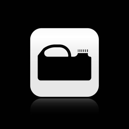 Black Plastic canister for motor machine oil icon isolated on black background. Oil gallon. Oil change service and repair. Silver square button. Vector Illustration