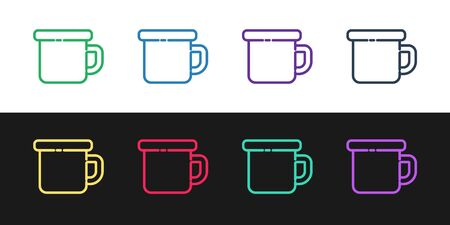 Set line Camping metal mug icon isolated on black and white background. Vector Illustration Vectores