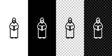 Set line Monk icon isolated on black and white background. Vector Illustration Çizim