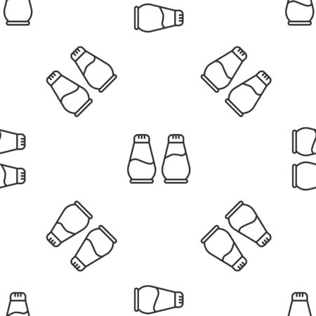 Grey line Salt and pepper icon isolated seamless pattern on white background. Cooking spices. Vector Illustration