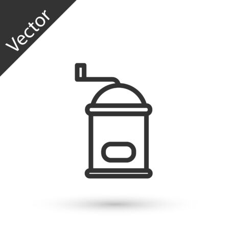 Grey line Manual coffee grinder icon isolated on white background. Vector Illustration