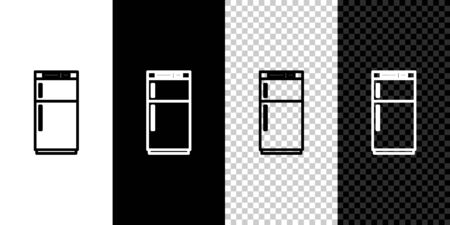 Set line Refrigerator icon isolated on black and white background. Fridge freezer refrigerator. Household tech and appliances. Vector Illustration