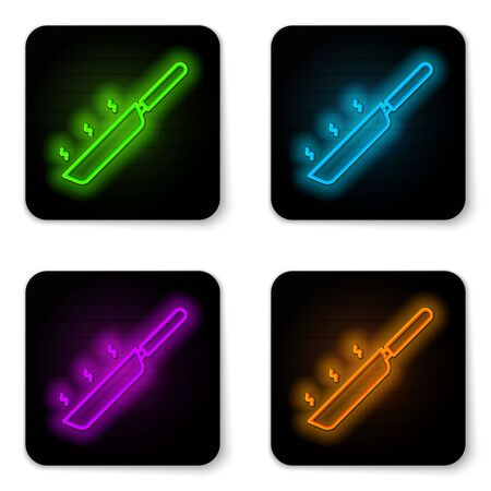 Glowing neon line Frying pan icon isolated on white background. Fry or roast food symbol. Black square button. Vector Illustration 向量圖像