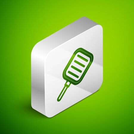 Isometric line Frying pan icon isolated on green background. Fry or roast food symbol. Silver square button. Vector Illustration