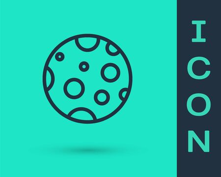 Black line Moon icon isolated on green background. Vector Illustration