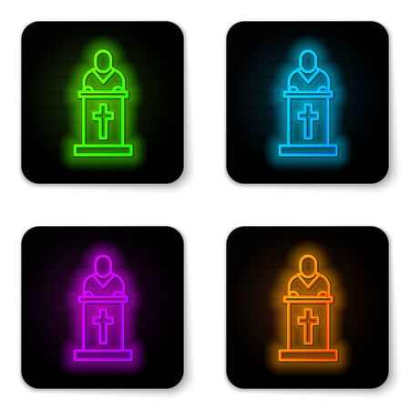 Glowing neon line Church pastor preaching icon isolated on white background. Black square button. Vector Illustration