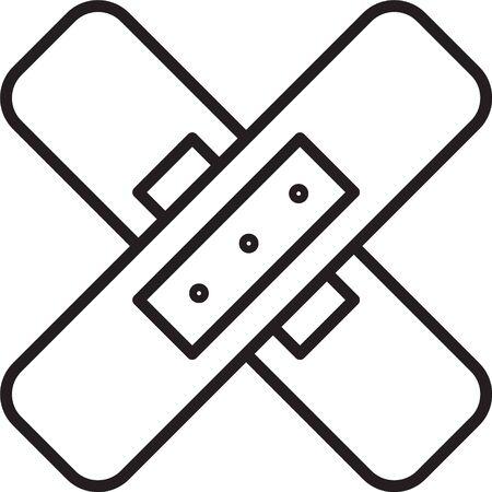 Black line Crossed bandage plaster icon isolated on white background. Medical plaster, adhesive bandage, flexible fabric bandage. Vector Illustration