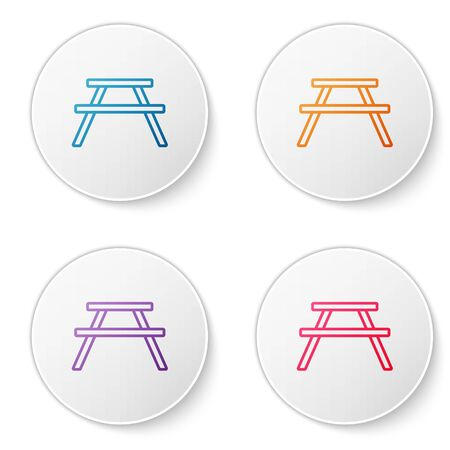 Color line Picnic table with benches on either side of the table icon isolated on white background. Set icons in circle buttons. Vector Illustration