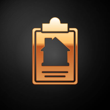 Gold House contract icon isolated on black background. Contract creation service, document formation, application form composition. Vector. Stock Illustratie