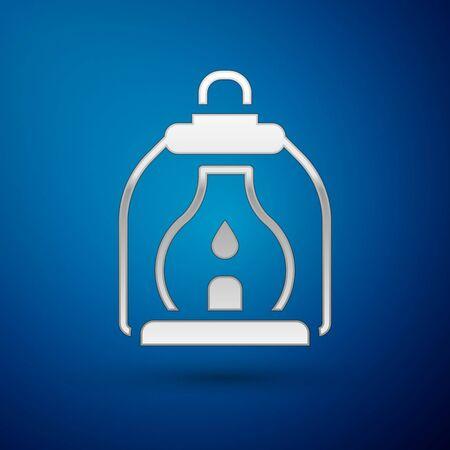 Silver Camping lantern icon isolated on blue background.  Vector.