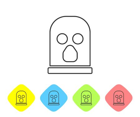 Grey line Balaclava icon isolated on white background. A piece of clothing for winter sports or a mask for a criminal or a thief. Set icons in color rhombus buttons. Vector.