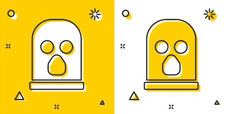Black Balaclava icon isolated on yellow and white background. A piece of clothing for winter sports or a mask for a criminal or a thief. Random dynamic shapes. Vector.