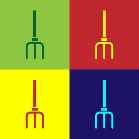 Pop art Garden pitchfork icon isolated on color background. Garden fork sign. Tool for horticulture, agriculture, farming. Vector.