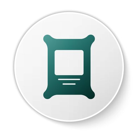 Green Fertilizer bag icon isolated on white background. White circle button. Vector