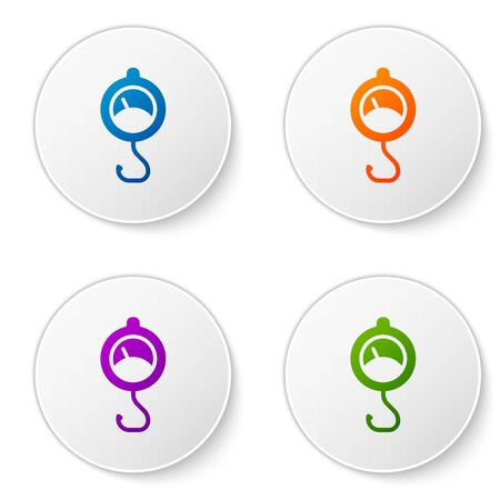 Color Spring scale icon isolated on white background. Balance for weighing. Determination of weight. Set icons in circle buttons. Vector.  イラスト・ベクター素材