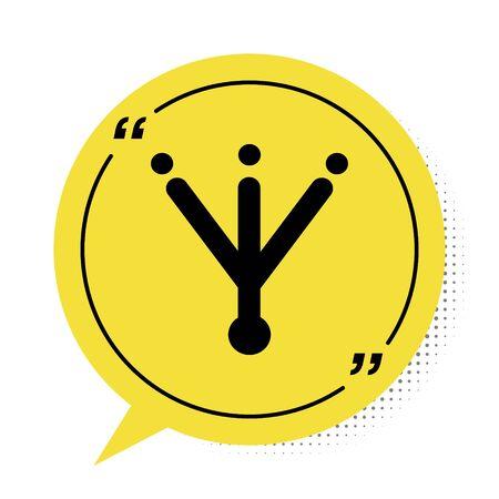 Black Bird footprint icon isolated on white background. Animal foot. Yellow speech bubble symbol. Vector