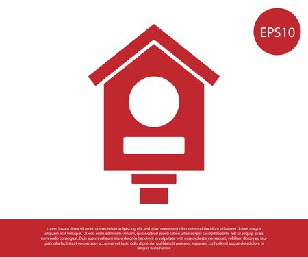 Red Bird house icon isolated on white background. Nesting box birdhouse, homemade building for birds. Vector.