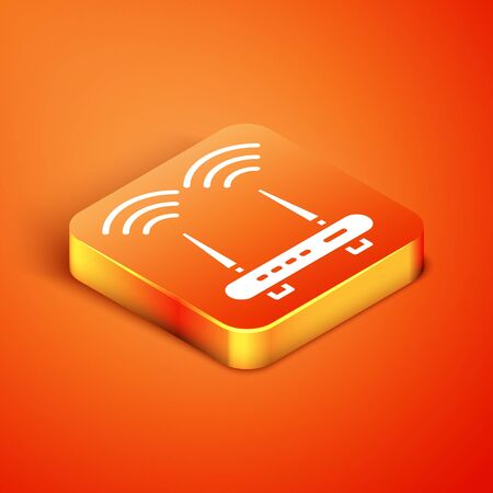 Isometric Router and wifi signal icon isolated on orange background. Wireless  modem router. Computer technology internet. Vector.