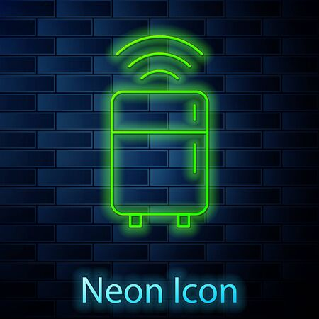 Glowing neon line Smart refrigerator icon isolated on brick wall background. Fridge freezer refrigerator. Internet of things concept with wireless connection. Vector