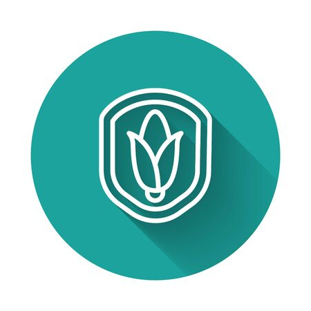 White line Shield corn icon isolated with long shadow. Security, safety, protection, privacy concept. Green circle button. Vector.